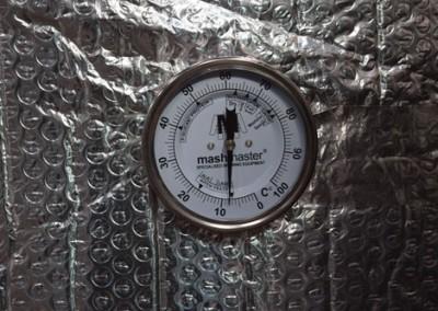 Steel Mash Tun Vessel Exterior Temperature Gauge